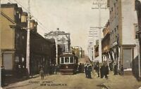 Antique 1908 Postcard PROVOST STREET New Glasgow NS Trolly Many People Posted