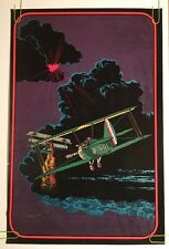 Dog Fight blacklight poster 1970s pin-up Fighter Plane War Velvet Flocked Planes
