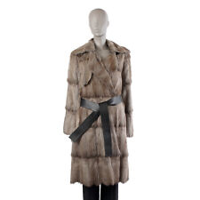 40253 auth LANVIN grey FUR Wrap Coat Jacket 40 M
