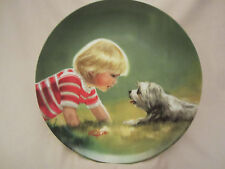 MAKING FRIENDS collector plate DONALD ZOLAN Boy w/ dog Lhasa CHILDREN AND PETS