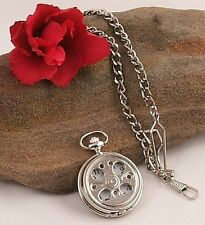 Loook! Silver Tone Pocket Watch 12Mth Wty +Chain Kp15