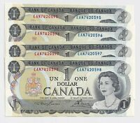 4 x Sequential 1973 $1 Bank of Canada Notes UNC