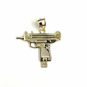 10k yellow Gold solid Uzi machine gun Pendant charm gift male fine jewelry 2.4g