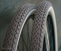"26""BrownClayRedCream Whitewall TIRES Vintage Prewar Schwinn Bicycle Cruiser Bike"