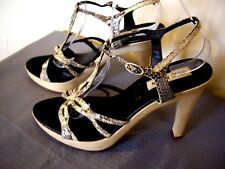STEVE MADDEN SNAKEPRINT GREY LEATHER STRAPPY SANDALS UK 7 US 9 GREAT CONDITION