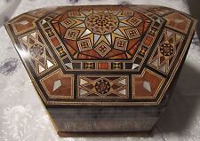 Rare Syrian INLAID WOOD MOSAIC old JEWELRY BOX MOTHER OF PEARL red LINING