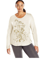 NWT Just My Size 4X  Light Weight L/S V Neck Glitzy Graphic Tee Top Chalk White