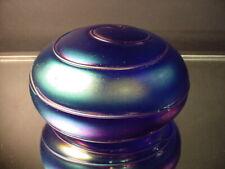 "Orig Levay Glass Studio 5"" Dia. Hand Blown Blue Aurene Spiral Glass Paperweight"