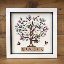 Personalised Box Frame Family tree Scrabble New Home Birthday Diamantes Bling