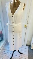 NEXT White Summer Spring 100% pure Linen Belted Midi  Dress BNWT RRP £45 size 22