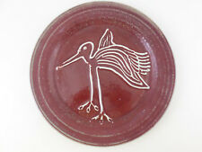 "VTG Studio Art Pottery 12.5"" Stoneware Plate Charger Red Speckle w/ Bird Signed"