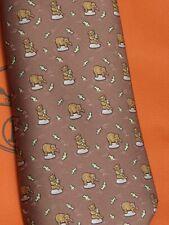 Original Hermès-Krawatte 5002 braun mit Bären und Fischen, wenig getragen