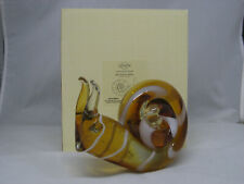 "Art Glass Snail by Lenox 5.25"" Tall X 6.25 Long Amber and White Swirls"