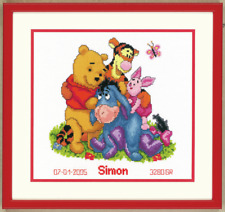 Disney Winnie The Pooh Acta de Nacimiento Kit de Punto de Cruz