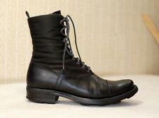 1500$ PRADA black lace up mid calf victorian combat boots 36.5 fits 38 us7.5 uk5