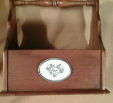 Vintage Wood Silverware Caddy With Handle & Off White /Blue Decor