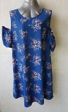 Katies Blue Floral Print Shift Dress, Cold Shoulder, Keyhole Back, Size 18 NWT