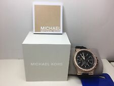 Michael Kors MK8557 Dylan Chrono Rose Gold Black Silicone Strap Unisex Watch