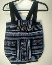 Mexican Woven Backpack Black & White /w Brown Aztec Lines XL