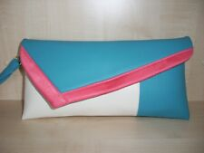 Turquoise, cream & coral faux leather Clutch bag with wrist strap. Handmade!