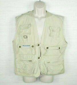 Vintage America Perry Ellis Hunting Fishing Vest Zip Button Front Men's Medium
