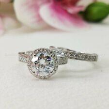 Certified 3.00 Ct Round Cut Moissanite Bridal Set Engagement Ring 14K White Gold