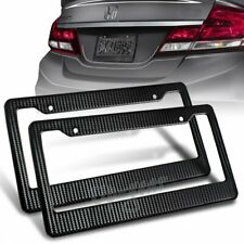 Universal JDM Black Carbon Look License Plate Frame Cover Front & Rear 2PCS