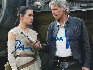 Harrison Ford  Daisy Ridley   Star Wars Autograph  signed with COA
