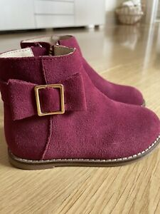 Janie and Jack Little Girl Suede Side Bow Bootie Size 7 Toddler