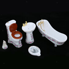 Modern Style Hamamelidaceae Porcelain Bathroom Set for Miniature Dollhouse
