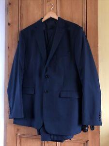 "MOSS Bros Navy Blue Regular Fit Suit 3 Piece 46"" Jacket Waistcoat 40L Trouser"