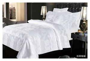 White Jacquard Duvet Cover set Silk Bedding Set with Fitted sheet and Pillowcase