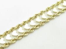 """14k Yellow Gold Vintage Estate Heart & Rope Design Unique Tennis Bracelet 7.5"""""""