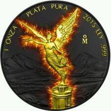 2015 BURNING Libertad Black Ruthenium 1 oz Silver Coin Mexico...
