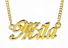 18K Gold Plated Necklace With Name MILA - Bridal Xmas Crystals Personalised Gift