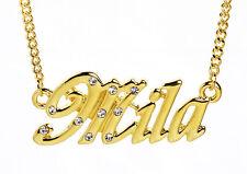 18k Chapado En Oro Con Collar Con Nombre Mila-Bridal Xmas Cristales Regalo Personalizado