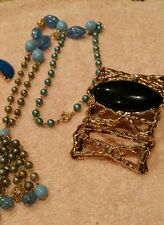 JEWELRY LOT SET VINTAGE BLUES NECKLACE BRACELET EARRINGS.  EARRINGS.   2H