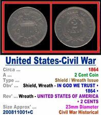 Bronze Coin • U.S. Civil War Period •  Two Cents • 1864 • 200811001•C