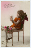 c 1930 Child Children CUTE GIRL w/ KEWPIE DOLL carnival photo postcard