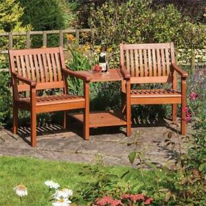 Willington Hardwood Companion Seat Love Seat Bench Brown
