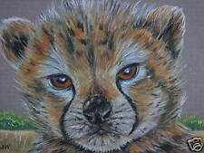 ACEO  Cheetah Cub cat Wild animal print of painting