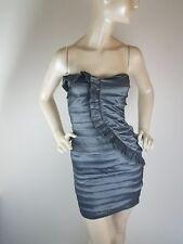 Prom Dress City triangles Shiny Gray Tiered Ruffled Strech Strapless Junior Sz3
