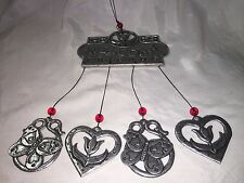 """Nice  Pewter Hearts """"Welcome  Friends"""" Wind Chime Indoor/Outdoor~Excellent   9z"""