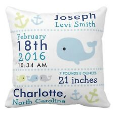 Personalized Baby Name &Date Pillowcase Whale Cushion Cover More size Birth Gift
