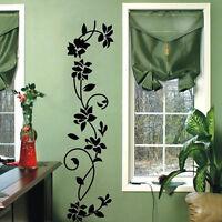 New Wall Sticker Black Flowers Vine Vinyl Art Mural Decal Home Living Room Decor