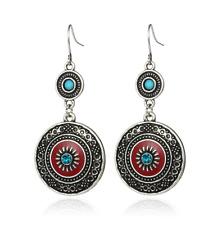 Boucles d'Oreilles Earrings Pendantes Argenté Turquoise Rouge Fantaisie Chic