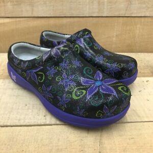 Alegria By PG Lite Womens Kayla Clog Shoes Purple Floral 10.5-11 EUR 41 New