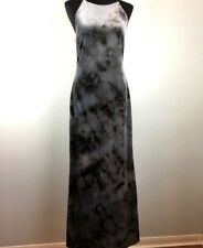 Vintage 90s Cachet Maxi Sheath Dress 10 Gray Black Tie Dye Stretch Velvet Party