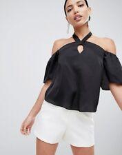 NEW Lipsy Halterneck Satin Top, Black, Size 8, RRP £25