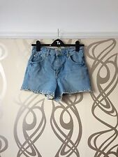 High waist denim shorts with white embroidery on hem size 10 from Miss Selfridge